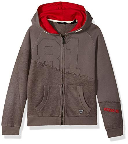 GUESS Boys' Big Long Sleeve Two-Way 81 Zip Up Hoodie, Storms a Coming, 8 (Guess Zip Up Jacket)
