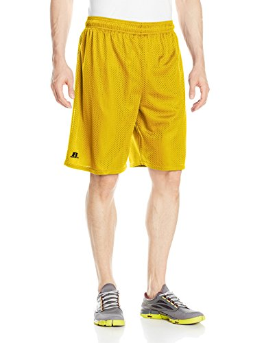(Russell Athletic Men's Mesh Shorts (No Pockets), Gold, Small)
