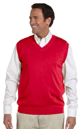 Devon & Jones Men's V-Neck Sweater Vest - Red D477 L