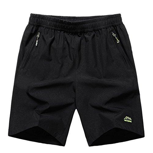 JINSHI Men's Outdoor Breather Quick Dry Lightweight Sports Hiking Shorts Zipper Pockets (02Black,XL)
