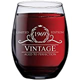 1969 50th Birthday Gifts for Women and Men Wine Glass | Funny Vintage...