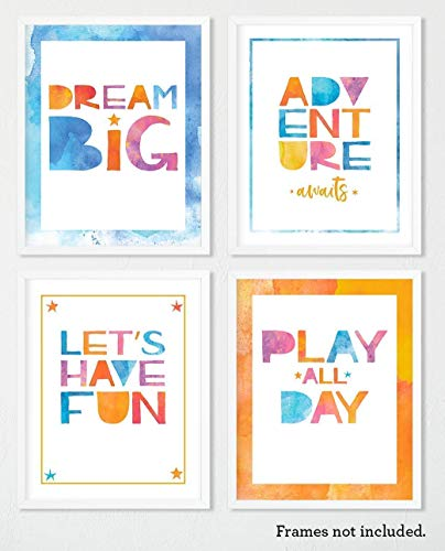Kid Print Set of 4, 8x10 Unframed Art Prints, Colorful Wall Art, Playroom Decor, Nursery Decor, Baby Shower Gift for Boys and Girls, Great Holiday Gift ()