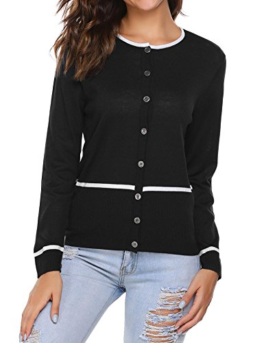 SoTeer Womens Long Sleeve Button Down Soft Classic Knit Cardigan Sweaters - Black/S-XXL