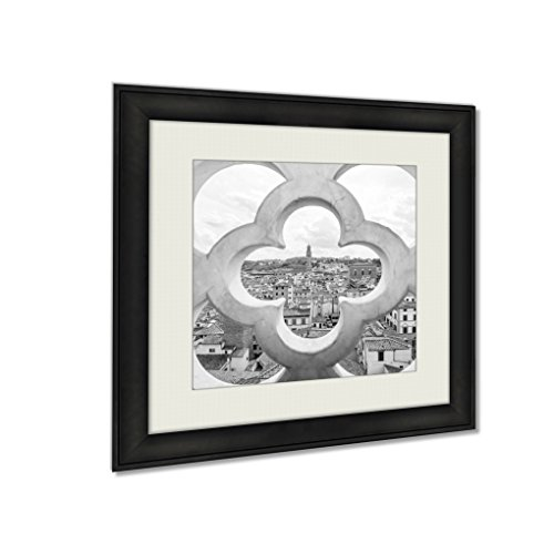 Ashley Framed Prints Fence Ornament Bell Tower In Florence, Wall Art Home Decor, Black/White, 22x22 (frame size), AG5532187 by Ashley Framed Prints