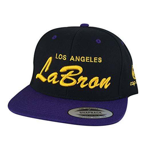 60e9d91bd20dbd Los Angeles Labron Script Lakers Colors Snapback Cap Custom Embroidered Hat