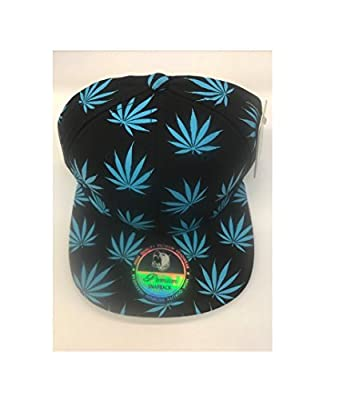 Pitbull Premium Snapback Weed Marijuana Big Leaf Print Allover Blue