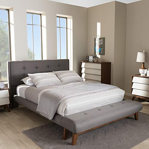 An item of Baxton Studio Reena Full-Size Bed and Bench Set - Gray- Bulk Discount ()