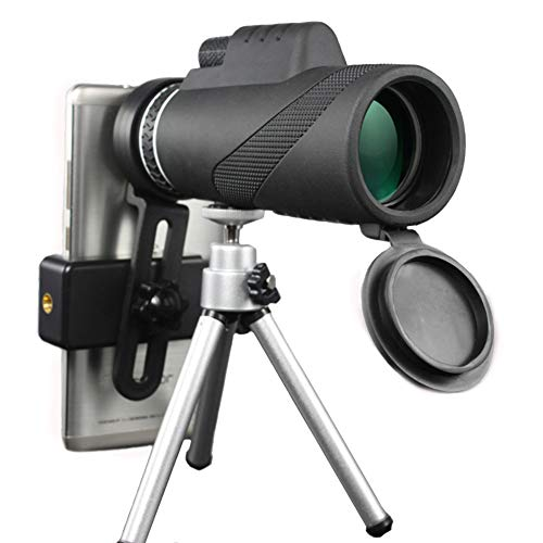 40x60 Monocular Telescope with Tripod and Phone Adapter, High Powered FMC BAK4 Prism Waterproof Low Night Vision Monocular Scopes for Outdoor, Bird Watching, Hunting, Camping, Travel, Concerts (Black)