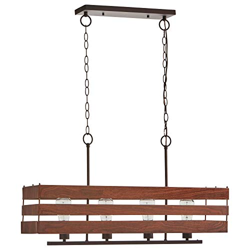 """Stone & Beam Rustic Faux Wood Metal Chandelier Light with Bulb, 17.5""""H, Oil-Rubbed Bronze"""