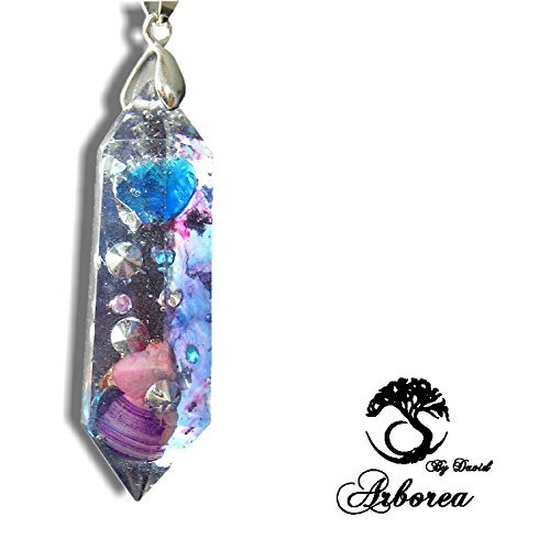 Arborea Orgone Necklace, Light body activation, Pink Opal, 925 Silver, orgonite jewellery pendant by ArboreaCrystals Orgone (Image #2)