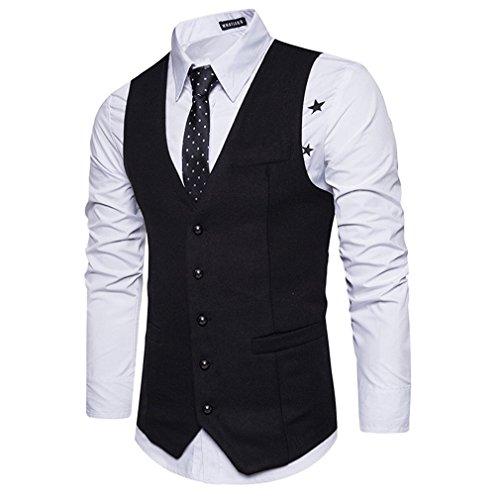 Manches Sans Gilet Costume Fit Veste Slim neck Hommes V De Formelle Juleya Mariage Noir Gilets qxBTwX4Hn