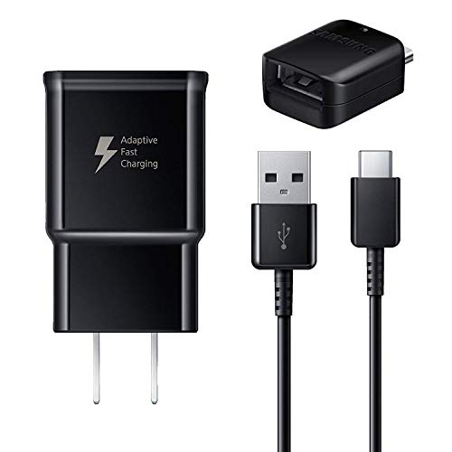 Samsung Fast Adaptive Wall Adapter Charger Plug Compatible for Galaxy S10 S9 Plus Note 9 S8 Note 8 EP-TA20JBE - 6 Foot Type C USB Cable and OTG Adapter - Black