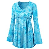 Vibola Tops for Women Clearance Sale, V-Neck Tie-dye Tunic Shirt Pleated Waist top (M, Sky Blue)