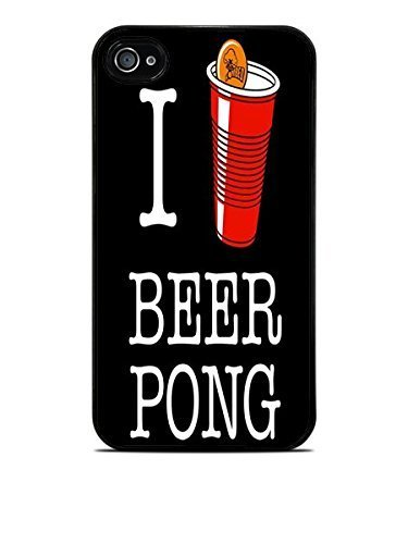 I love Beer Pong Red Cup Fun Black Hardshell Case for iPhone 4 / 4S