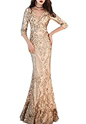 Women's V-Neck Sequins Mermaid Dress with Sleeves