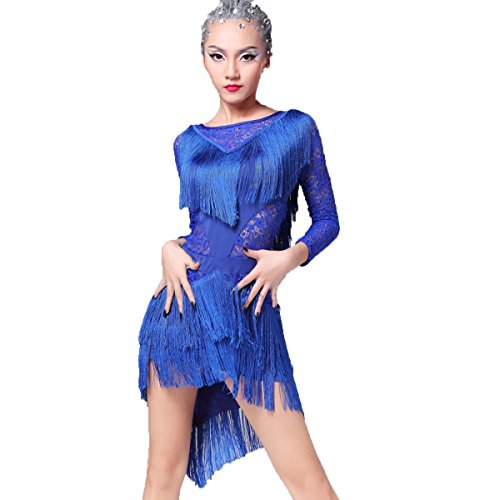 [Latin Dance Dress Tassel Women Tango Salsa Rumba Cha Cha Samba Tango Dance Performance Clothes Competition Costumes Party] (Latin Costumes Dresses)