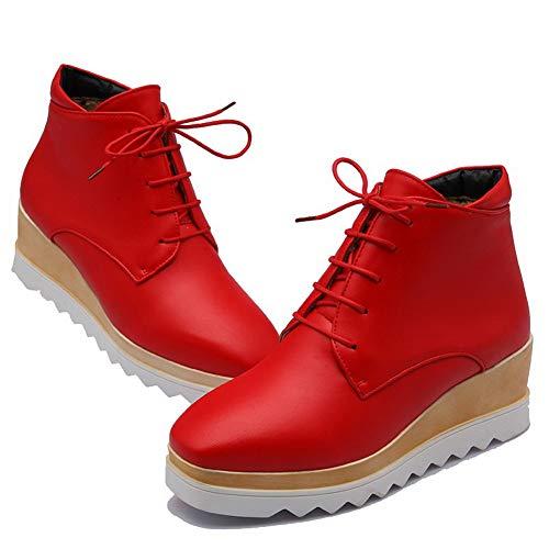 Caña Rosso tacco a tonda medio Stivaletti punta con Agoolar Solid Donna Baja Gmxxb117893 57qAZg