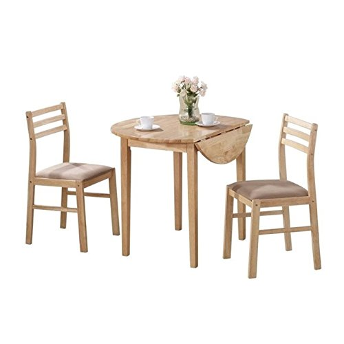 Bowery Hill Dinettes Casual 3 Piece Table and Chair Set in Natural