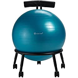 Gaiam Adjustable Custom-Fit Balance Ball Chair, Stability Ball Desk Chair with 55cm Yoga Ball, Inflation Pump and Exercise Guide for Home or Office, Blue