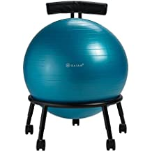 Gaiam Adjustable Custom-Fit Balance Ball Chair, Stability Ball Desk Chair with 55cm Yoga Ball, Inflation Pump and Exercise Guide for Home or Office