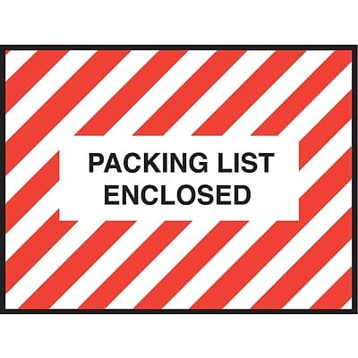 Packing List Envelopes, 4-1/2 x 6, Red Striped Full Face Packing List Enclosed - 1000/Carton (1 Carton)