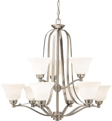 1784NI Langford 9LT 2-Tier Chandelier, Brushed Nickel Finish with Satin Etched White Glass (Langford 9 Light Chandelier)
