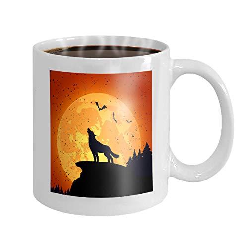 11 Ounces Funny Coffee Mug halloween background wolf grunge night full moon -