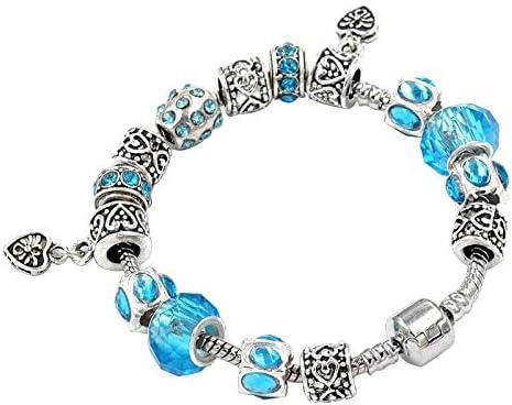 Women Jewellery Red Rhinestone Beads Glass Bead Charms Peach heart pendant Silve