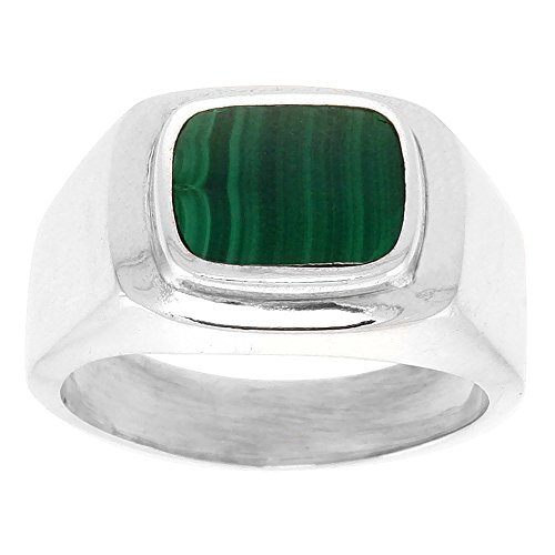 Sterling Silver Malachite Ring for Men Rounded Rectangular Raised Solid Back Handmade, size 13
