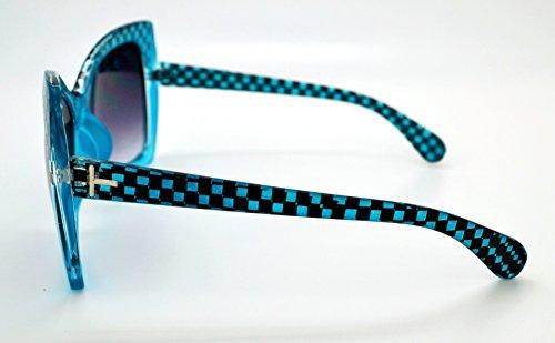 gratuit pour Mode soleil étui microfibre Lunettes qualité femme haute Smoke classique Checkered Vox tendance Frame Lens de Teal Hot W wIqY64R