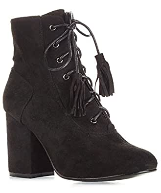RF ROOM OF FASHION Women's Vegan Suede Lace Up Fringe Decor Side Zipper Closure Round Toe Ankle Booties - BE01 Black (5.5)