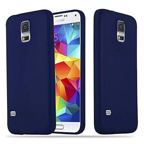 Cadorabo - Cubierta protectora Samsung Galaxy S5 de silicona TPU en diseño Candy - Case Cover Funda Carcasa Protección en AZUL-CANDY AZUL-OSCURO-CANDY