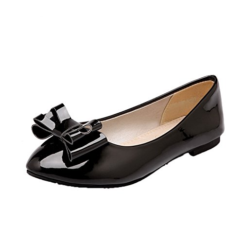 AllhqFashion Womens Low-Heels Patent Leather Pull-On Round-Toe Pumps-Shoes Black mL8V5NN