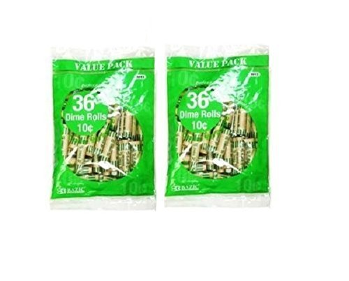 Bazic Dime Coin Wrappers, 36 Per Pack, 2 Pack(72 Total) by Bazic