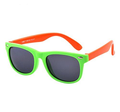 YANQIUYU TPEE Rubber Flexible Kids Toddler Polarized Wayfarer Sunglasses Age 3 -10,UV Protection (Green Frame/Orange Temple, - Wayfarer Rubber