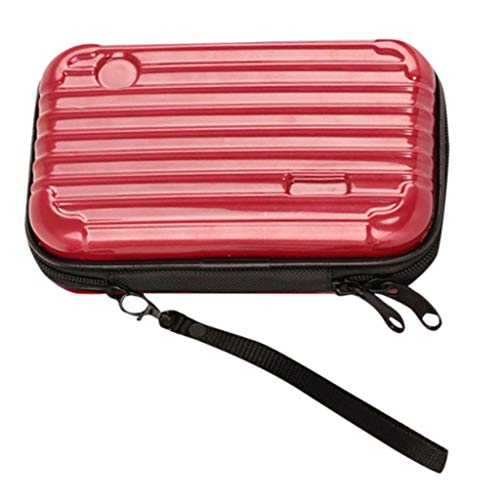 Makeup Bag Pouch Portable Cosmetic Bag Small Hard Case,Suitcase cosmetic handbag waterproof/Crashproof The Mini Suitcase Cosmetic bag (6.89?.33?.76inch, red)