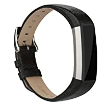 for Fitbit Alta HR and Alta Bands Leather, Vancle Leather Band for Fitbit Alta HR and Fitbit Alta Strap (Magic Purple-Leather)