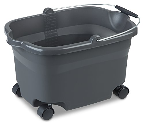 Sterilite 11273V04 20 Quart/19 Liter Wheeled Bucket, Flat Gray Bucket & Wire Handle w/ Blake Grip & Casters, 4-Pack
