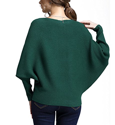 Chandail Tricot Top Casual Green Sweater Batwing Femme Longues Chemisier Hiver Jumpers Shirt Automne Manches Elegant Bateau Pull Col Pullover xAwpqYpd