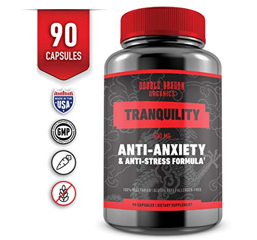 Anti Anxiety Supplement and Stress Support for Anxiety Relief, Mental Focus, Memory & Cognitive Function, Reduce Stress by Increasing Serotonin Without Feeling Tired – Double Dragon Organics – 90 Caps