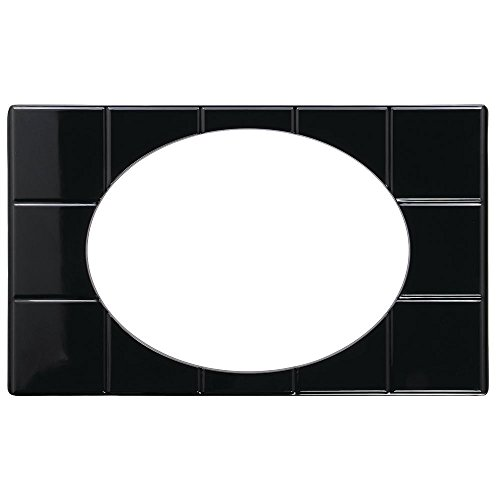 Full Size Food Bar Tile Tray For Cold Foods Black Melamine With Oval Bowl Cut-Out - 21'' L x 12 3/4 W by Hubert