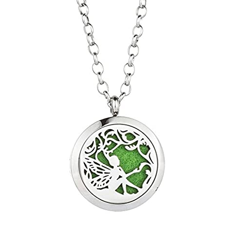 Jenia Essential Oil Diffuser Necklace Aroma Hyop-Allergenic Magnetic Locket Pendant With Chain&Pads (Horse Tooth Necklace)