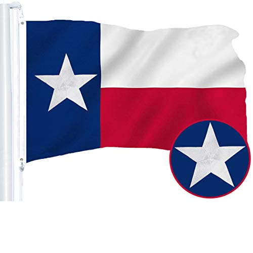 - G128 - Texas State Flag | 2x3 feet | Embroidered 210D - Indoor/Outdoor, Vibrant Colors, Brass Grommets, Quality Polyester