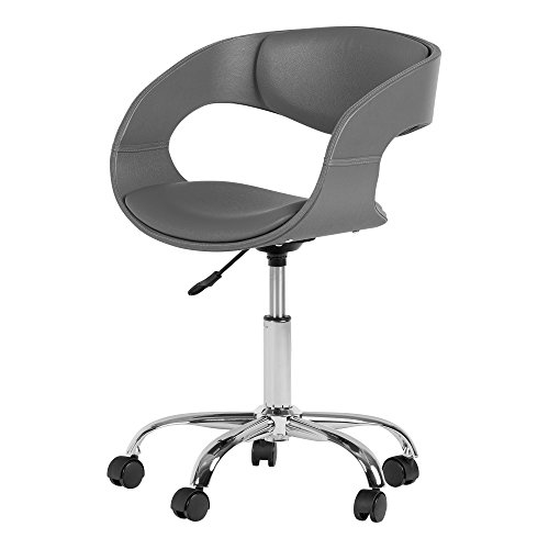 South Shore Annexe Home Office Faux-Leather Adjustable Height Chair on Wheels, Gray