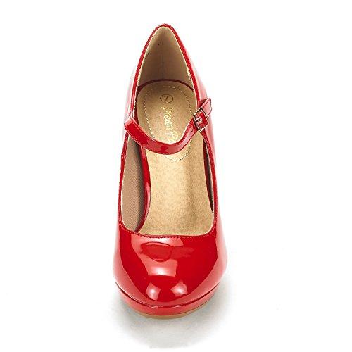 DREAM PAIRS Damen LILICA Mary-Jane Close Toe Stilleto Platform Pumps Schuhe Rote Pat