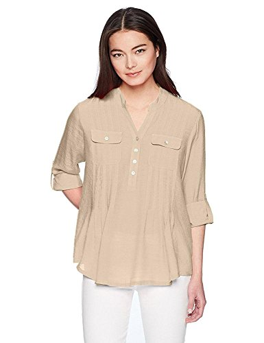Ruby Rd. Women's Silky Gauze Pleated Top With Button-Front Stand Collar, Chino, Small (Front Chino Pleated)