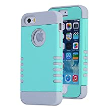 iPhone SE Case, Asstar [Stand Feature] Durable Soft TPU+PC 3 in 1 Hybird Hard Back All-round Protection Case Suitable for iPhone SE / 5S / 5 (Mint green)