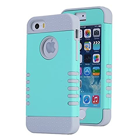 iPhone SE Case, Asstar [Stand Feature] Durable Soft TPU+PC 3 in 1 Hybird Hard Back All-round Protection Case Suitable for iPhone SE / 5S / 5 (Mint (Cheap Iphone 5 Speck Cases)