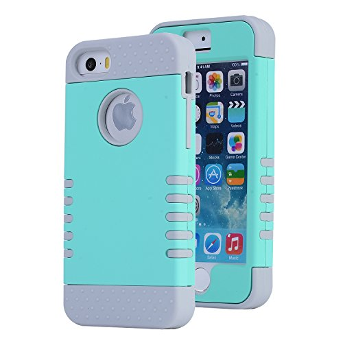 iPhone SE Case, Asstar [Stand Feature] Durable Soft TPU+PC 3 in 1 Hybird Hard Back All-round Protection Case Suitable for iPhone SE / 5S / 5 (Mint green) (Speck Iphone 5s Camo Case)