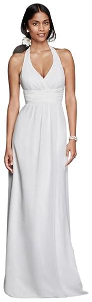 Chiffon Sheath Halter Wedding Dress Style SDWG0394, White, 2 at ...